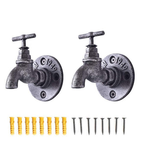 2 Pcs Industrial Iron Pipe Coat Hook Wall Mounted Bathroom Towel Holder Office Entryway Foyer Hallway Bedroom Rail Decor DIY Water-tap Design