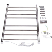 Top rated 24 x 30 wall mount stainless steel polished towel warmer drying rack w 8 bar horizontal pipe