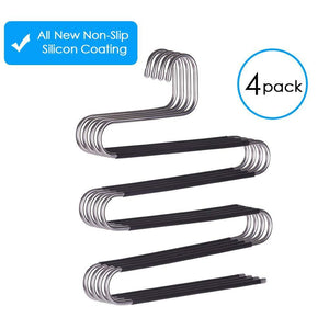 Great ffhl pants hangers s type 5 layers non slip with silicone stainless steel rack for dress jeans slacks towels scarfs ties multi clothes cascading 80 space saver 14 17 x 14 96ins4 pack