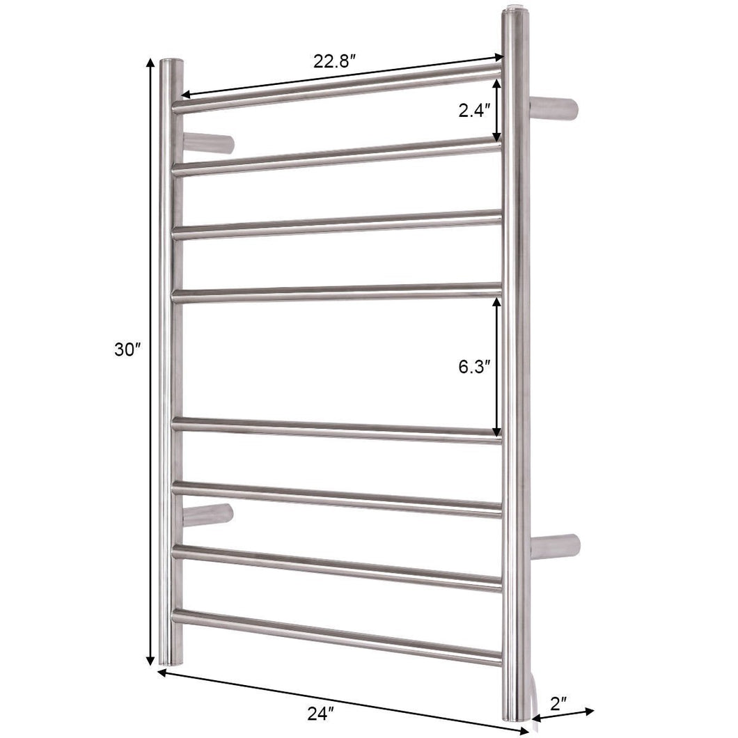 The best 24 x 30 wall mount stainless steel polished towel warmer drying rack w 8 bar horizontal pipe
