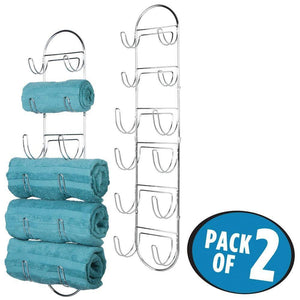 Get mdesign wall mount metal wire towel storage shelf organizer rack holder with 6 compartments shelves for bathroom towels 2 pack chrome