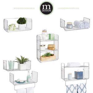 Explore mdesign metal wire farmhouse wall decor storage organizer shelving set 1 shelf with towel bar for bathroom laundry room kitchen garage wall mount 2 pieces chrome