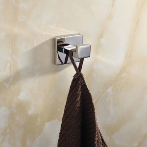 Related luxury 304 stainless steel bathroom single towel hook robe chrome wall mount coat hat door hook hanger mirror polished bathroom accessories 5pcs 5