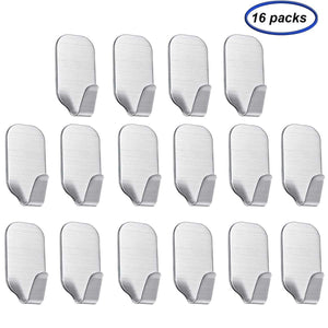 On amazon adhesive hooks sfemn heavy duty wall hooks stainless steel waterproof wall hangers for robe coat towel keys bags home kitchen bathroom 16 pack