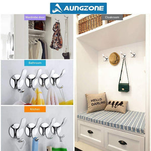 Top aungzone towel hooks for bathroom kitchen coat clothes robe hook rustproof wall mount stainless steel no drilling heavy duty 2 pack