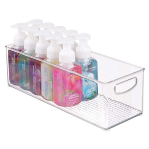 Latest mdesign storage bins with built in handles for organizing hand soaps body wash shampoos lotion conditioners hand towels hair accessories body spray mouthwash 16 long 8 pack clear