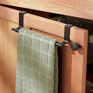 Select nice mdesign adjustable expandable kitchen over cabinet towel bar rack hang on inside or outside of doors storage for hand dish tea towels 9 25 to 17 wide bronze