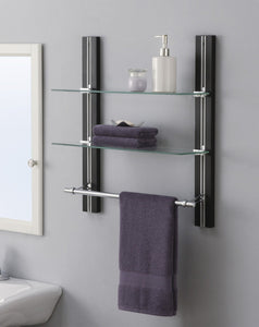 New organize it all mounted 2 tier adjustable tempered glass shelf with chrome towel bar