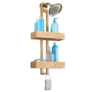 New idesign formbu bamboo hanging shower caddy for shampoo conditioner and soap with hooks for razors towels loofahs and more 11 05 x 5 32 x 26 68 natural finish