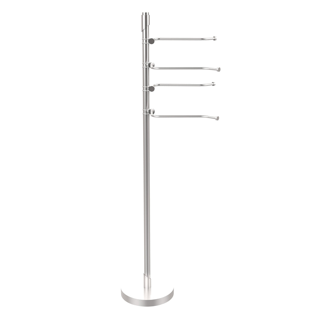 Shop allied brass tr 84 sch tribecca collection 49 inch towel stand with 4 swing arm satin chrome