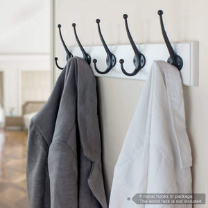 Kitchen arks royal heavy duty metal coat hook with ball ends thick long retro prong hat hook bath towel closet clothes hanger rail garment holder flat black 6 pcs