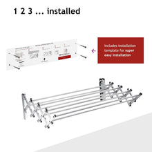 Top rated bartnelli accordion wall mounted drying rack 8 smooth round stainless steel rods huge 22 linear feet capacity compact sleek design ideal for heavy wet towels or delicates 60lb capacity