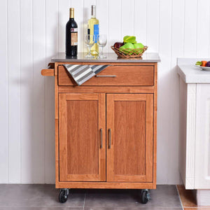 Buy giantex wood kitchen trolley cart rolling kitchen island cart with stainless steel top storage cabinet drawer and towel rack