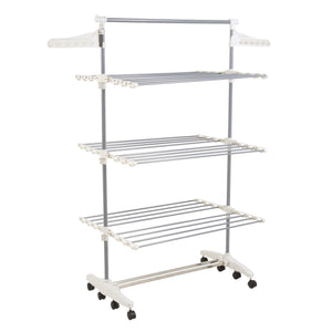 Online shopping heavy duty 3 tier laundry rack stainless steel clothing shelf for indoor outdoor use with tall bar best used for shirts towels shoes everyday home