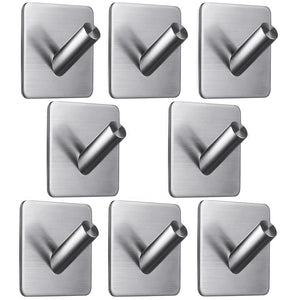 6 Pack Towel Hooks, Anteer Self Stick Robe Hooks Key Hooks Heavy Duty Coat Hooks Stainless Steel Stick on Wall Hooks for Home, Kitchen, Bathroom