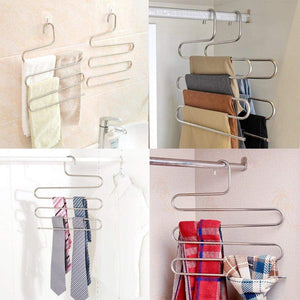 New pants hangers dexing s type multi purpose stainless steel magic space saving hangers clothes organizer for trousers towels ties and scarfs 5 pcs