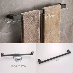 Discover whifea bathroom hardware set 4 piece wall mounted shelves stainless steel towel bars toilet paper holder robe hook bathroom fixture set matte black