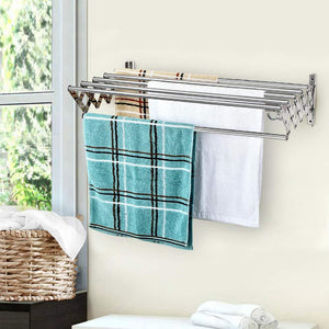 Online shopping merya folding clothes drying rack wall mount retractable 304 stainless steel laundry drying rack bathroom towel rack with hooks rustproof space saving clothes hanger rack for indoor outdoor use