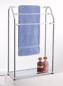 Get organize it all 3 bar bathroom towel drying rack holder with shelf chrome
