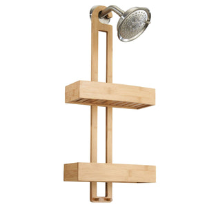 Home idesign formbu bamboo hanging shower caddy for shampoo conditioner and soap with hooks for razors towels loofahs and more 11 05 x 5 32 x 26 68 natural finish