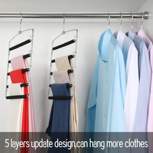 Save on meetu pants hangers 5 layers stainless steel non slip foam padded swing arm space saving clothes slack hangers closet storage organizer for pants jeans trousers skirts scarf ties towelspack of 4