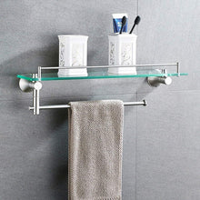 Get deed wall hanging mount rack toilet stainless steel double shelf tempered glass bathroom wall hanging towel rack 2 layers storage rack 612218cm