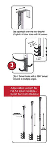 BathSense Height Adjustable Telescopic Over-the-Door Swivel Hook Rack With 3 Swivel Hooks, Silver