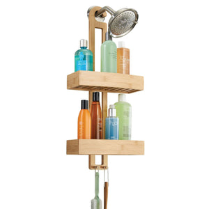 Latest idesign formbu bamboo hanging shower caddy for shampoo conditioner and soap with hooks for razors towels loofahs and more 11 05 x 5 32 x 26 68 natural finish