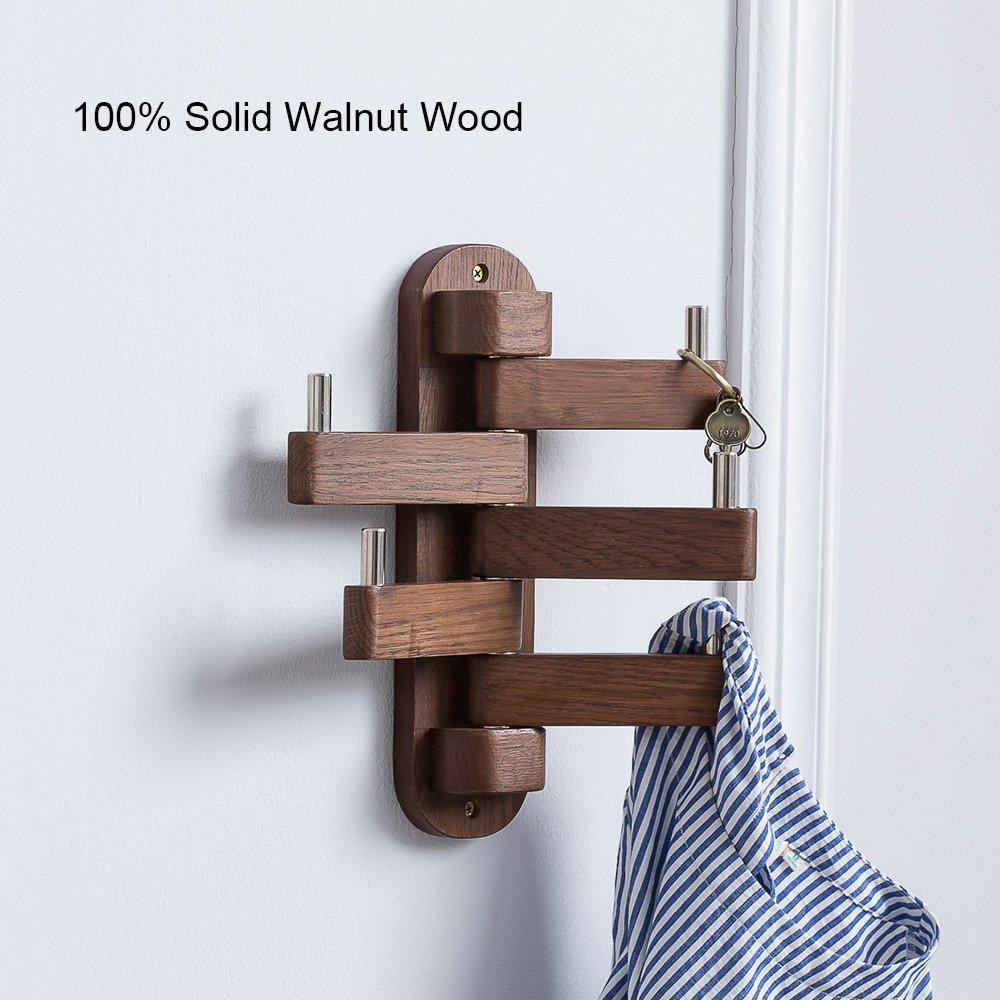 Amazon best solid wood swivel coat hooks folding swing arm 5 hat hanger rail multi foldable arms towel clothes hanger for bathroom entryway bedroom office kitchen kids garage wall mount accessories walnut wood