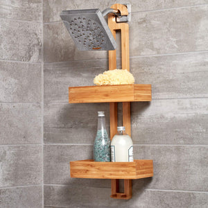 Online shopping idesign formbu bamboo hanging shower caddy for shampoo conditioner and soap with hooks for razors towels loofahs and more 11 05 x 5 32 x 26 68 natural finish