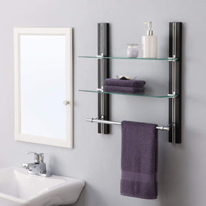 Order now organize it all mounted 2 tier adjustable tempered glass shelf with chrome towel bar