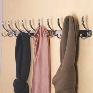 Selection dseap wall mounted coat rack 10 hooks heavy duty stainless steel metal coat hook for clothes towel hat robes mudroom bathroom entryway cock tail chromed 2 packs