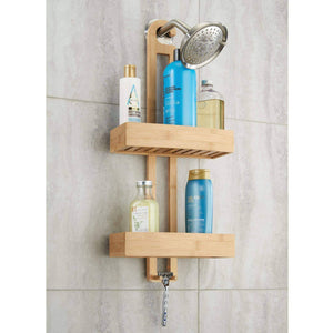 On amazon idesign formbu bamboo hanging shower caddy for shampoo conditioner and soap with hooks for razors towels loofahs and more 11 05 x 5 32 x 26 68 natural finish