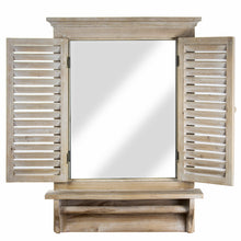 Budget friendly american art decor rustic country window shutter wall vanity accent mirror with shelf and towel rod 28 25h x 21l x 4 75d