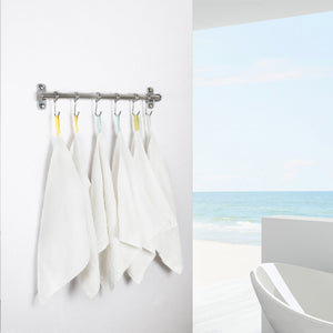 Discover the webi kitchen sliding hooks solid stainless steel hanging rack rail with 6 utensil removable s hooks for towel pot pan spoon loofah bathrobe wall mounted 2 packs