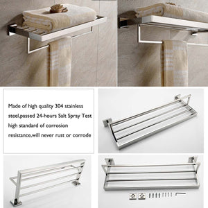 On amazon deluxe 24 inch 304 stainless steel bathroom dual layers towel bar shelves holder chrome polishing mirror polished wall mounted