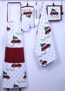 Shop here set of apron oven mitt pot holder pair of kitchen towels in a unique merry christmas design made of 100 cotton eco friendly safe value pack and ideal gift set kitchen linen set by casa decors