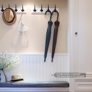 Home arks royal heavy duty metal coat hook with ball ends thick long retro prong hat hook bath towel closet clothes hanger rail garment holder flat black 6 pcs