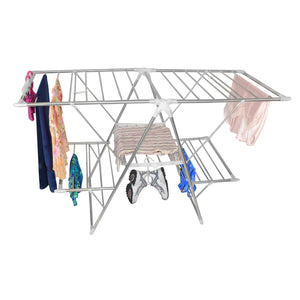 Top smart design heavy duty clothes drying rack w adjustable wings foldable design w 66 feet of drying space stainless steel metal drying clothes garments towels 61 x 39 57 inch silver