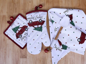 Shop set of apron oven mitt pot holder pair of kitchen towels in a unique merry christmas design made of 100 cotton eco friendly safe value pack and ideal gift set kitchen linen set by casa decors