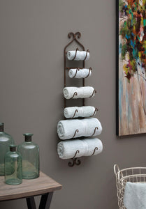Get imax 9748 towel wine rack in dark brown compact wall mounted metal display rack for organizing towels wine bottles hats home storage and organizing