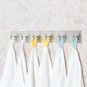 Exclusive webi adhesive hooks heavy duty stainless steel sticky utility wall hooks for towel loofahs belt scarves purses hats keys holder no nail waterproof 2 packs 1