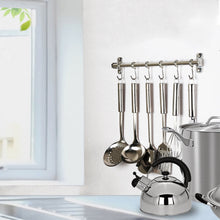 Heavy duty webi kitchen sliding hooks solid stainless steel hanging rack rail with 14 utensil removable s hooks for towel pot pan spoon loofah bathrobe wall mounted