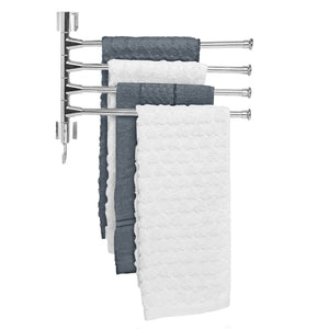 Organize with mygift wall mounted stainless steel swivel towel bar 4 swing arm hand towel drying rack for bathroom and kitchen