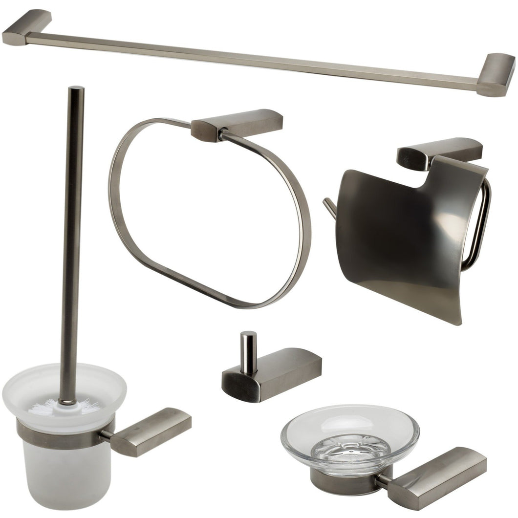 ALFI brand AB9503 Brushed Nickel/Polished Chrome 6 Piece Matching Bathroom Accessory Set