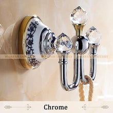 Crystal Robe HookClothes Hook Brass Chrome FinishBathroom Hardware Robe HooksBathroom Accessories 6306