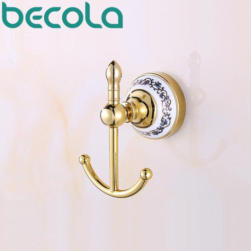 Bathroom Accessories Glod Plated Ceramic Robe Hook Wall Mounted Coat Hook Bathroom Products Br5501
