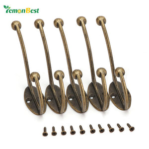 5 pcs/set Vintage Bronze Wall Hook Coat Bag Hat Hanger Robe Hooks Wall Hanging Hooks Home Kitchen Wall Door Holder