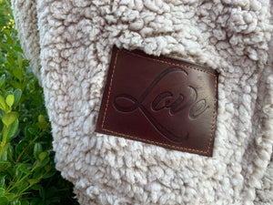 Sherpa Blanket | Brown | Love Tag (Cancer Ribbon)
