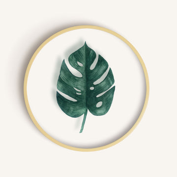 The Monstera Round Glass Frame